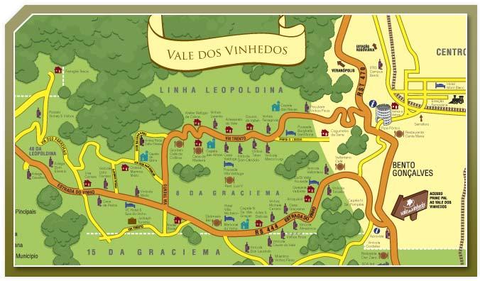mapa da rota dos vinhos